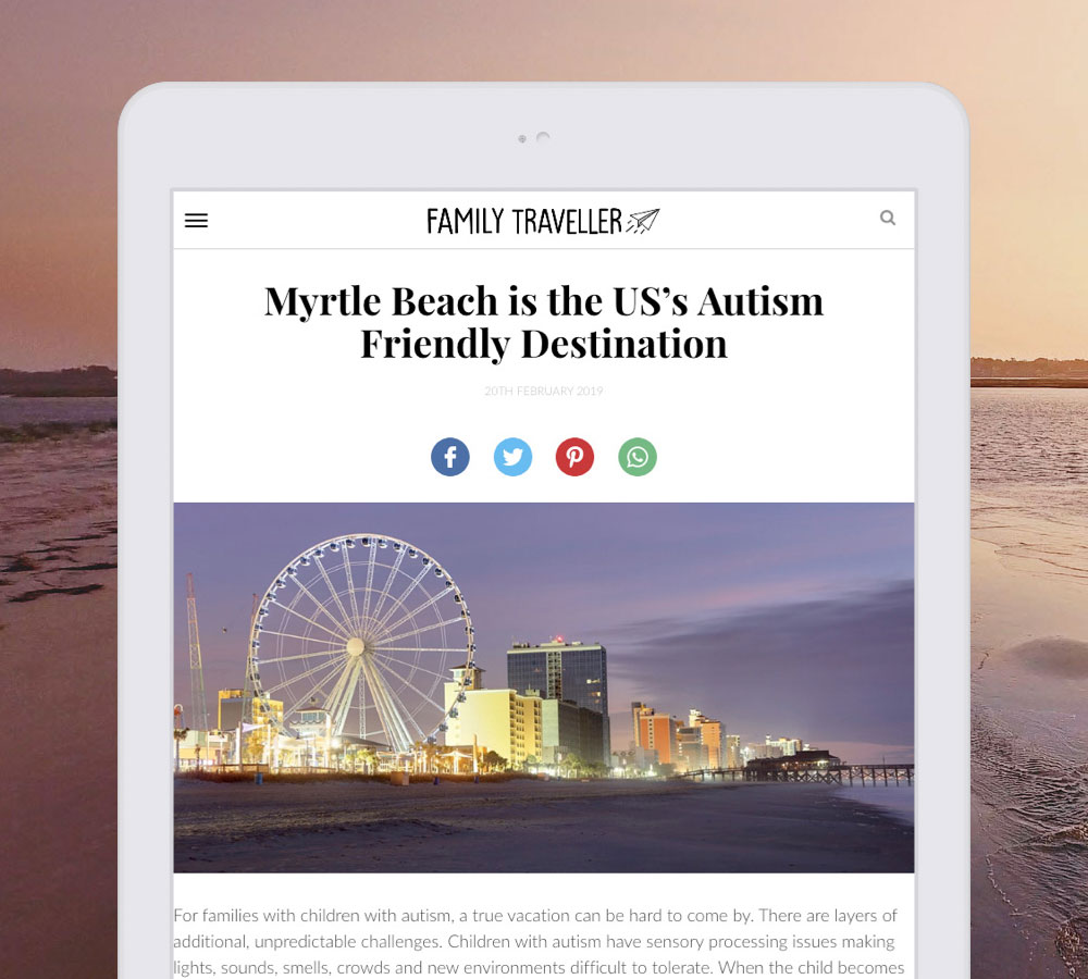 Myrtle Beach Family Traveller Article displayed on white tablet