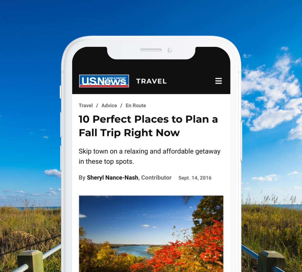 Myrtle Beach U.S. News Travel article displayed on a white mobile phone